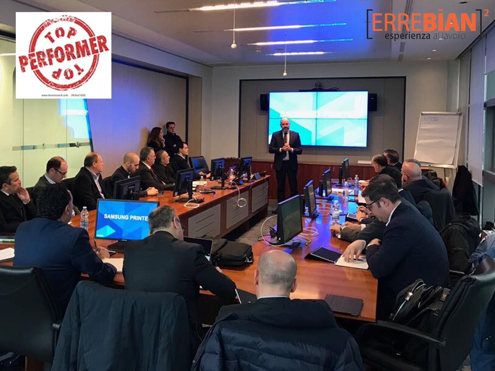 """Errebian a Milano presso la sede della Samsung con i suoi """"Top Performer""""."""