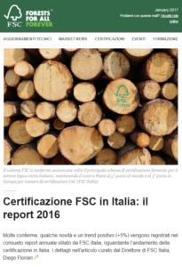 Newsletter FSC in Italia Report 2016 con ringraziamento ad Errebian